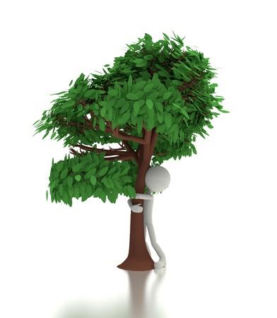 environmentalist: 3d person hugs a tree. environmental concept.