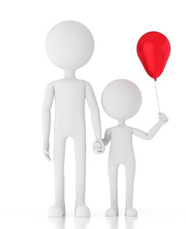 3d person man holding child Standard-Bild