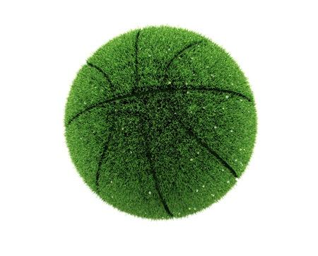 3d grass basketball with flowers. 3d grass ball. Recycle concept.