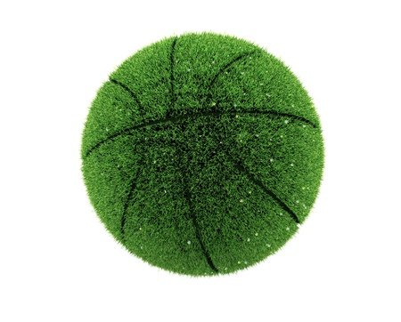 Basket-ball 3d herbe avec des fleurs. Boule d'herbe 3d. Recycler concept.