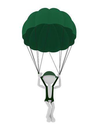 parachutist: 3d military parachutist person, parachuting.