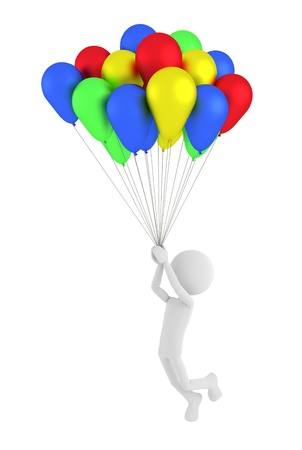 adult birthday party: 3d person holding colored balloons and flying