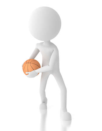 3d person basketball player with a ball photo