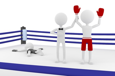 boxing match: 3d boxer person winning a match in a boxing ring with a referee lifting his hand. Winner and Loser. 3d image render.