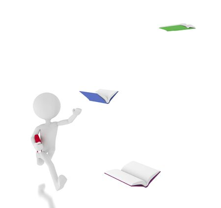 unreachable: 3d person chasing flying books.