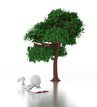 3d homme gris lit un livre sous un arbre.