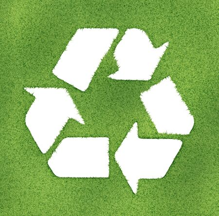 Recycle symbol made on grass outlines. 3d image render. photo