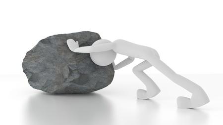 Personne 3d poussant un gros rocher. Banque d'images