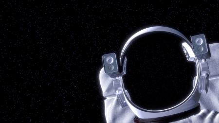 L'astronaute dans l'espace avec la place pour votre texte 3d illustration Banque d'images