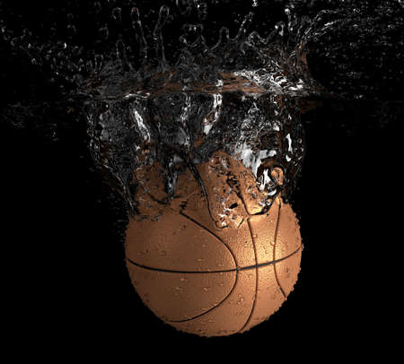 Basketball falls into water Stock Photo
