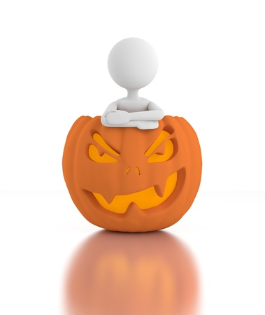 3d person stands inside a Jack O Lanterns and crosses arms  photo