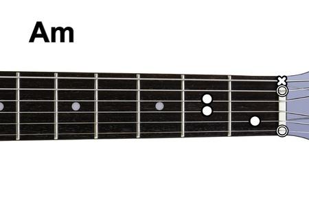 am: Guitar Chords Diagrams - Am  Guitar chords diagrams series  Stock Photo