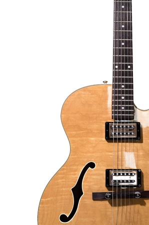 Hollow body electric guitar isolated on white background