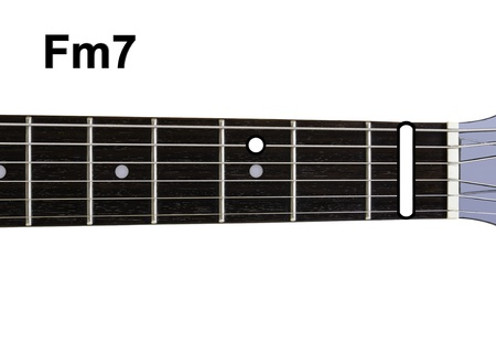 chords: Guitar Chords Diagrams - Fm7. Guitar chords diagrams series. Stock Photo