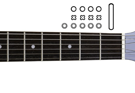 chord: Guitar Chords Diagrams - DIY  An empty guitar neck with icons for creating a chord diagram Stock Photo