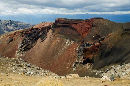 crater highlands: Red Crater, Parque Nacional de Tongariro, Nueva Zelanda Foto de archivo