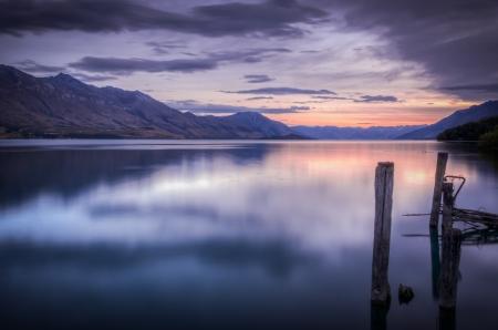 wakatipu: Beautiful sunset at Lake Wakatipu Stock Photo