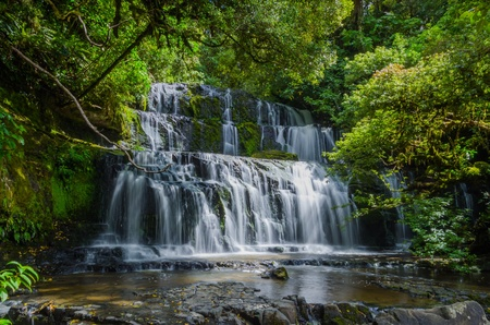 Purakaunui Falls, The Catlins, south island of New Zealand  Beautiful stairway waterfall  photo