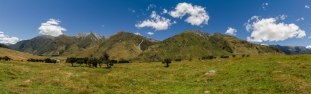 Meadow landscape panorama - Rob Roy Track, New Zealand photo