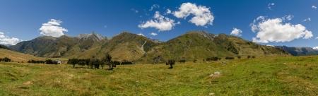 Meadow landscape panorama - Rob Roy Track, New Zealand Standard-Bild