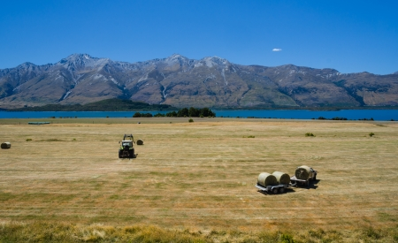 Straw haystacks on the field after harvest, collected by tractor, with a lake and mountains at the background