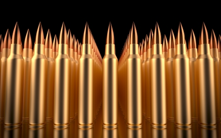 ammo: Rifle bullets lined in formation  3d illustration