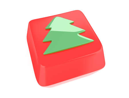 Christmas tree icon in green on red computer key  3d illustration  Isolated background Stock Illustration - 15598384
