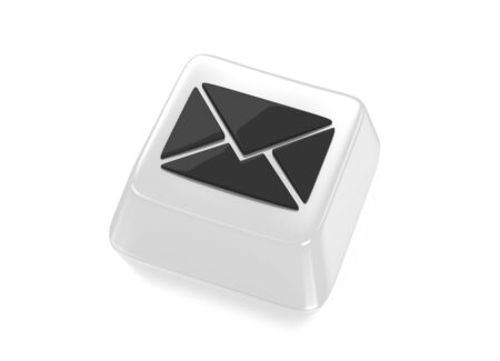 E-Mail envelope icon in black on white computer key  Isolated background  Stock Photo