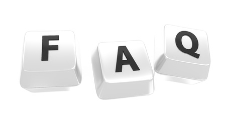 asked: FAQ written in black on white computer keys  Frequently Asked Questions  Isolated background