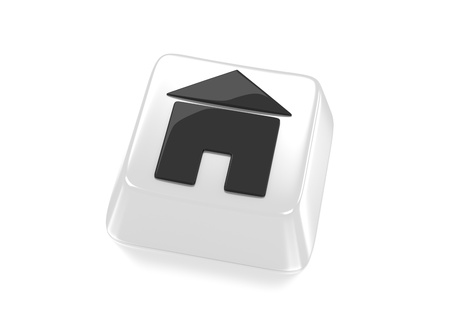 Home icon in black on white computer key  House icon  Isolated background Stock Photo - 15598375
