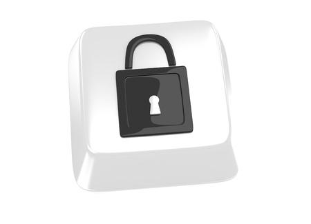 secret word: Lock icon in black on white computer key  3d illustration  Stock Photo