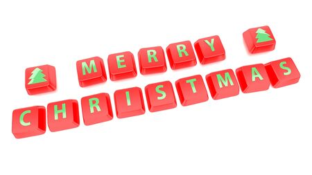 MERRY CHRISTMAS written in green on red computer keys  3d illustration  Isolated background