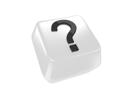 Question mark in black on white computer key  Isolated background  Stock Photo - 15598380
