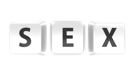 SEX written in black on white computer keys  Isolated background
