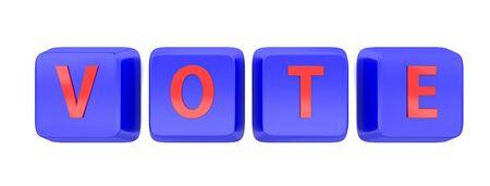VOTE written in red on blue computer keys