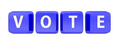 VOTE written in white on blue computer keys