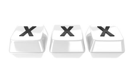 XXX written in black on white computer keys  Isolated background  Stock Photo - 15598374