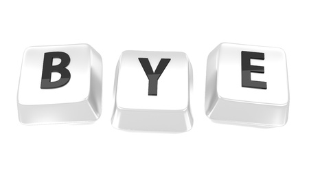 BYE written in black on white computer keys  3d illustration  Isolated background  Stock Photo