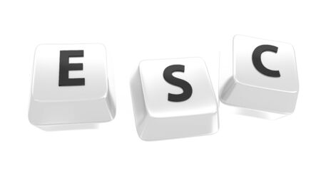esc: ESC written in black on white computer keys  3d illustration  Isolated background  Stock Photo