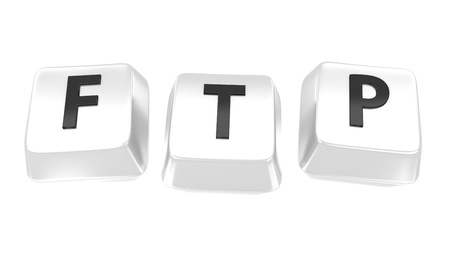 ftp: FTP written in black on white computer keys  3d illustration  Isolated background  Stock Photo