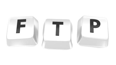 FTP written in black on white computer keys  3d illustration  Isolated background  Standard-Bild