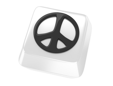 Peace symbol in black on white computer key  3d illustration  Isolated background  Standard-Bild