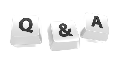 Q A written in black on white computer keys  3d illustration  Isolated background  Stock Photo