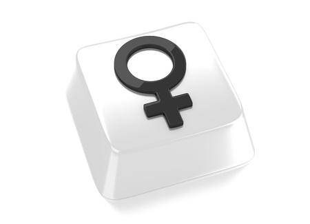 Venus symbol in black on white computer key  3d illustration  Isolated background  Stock Photo