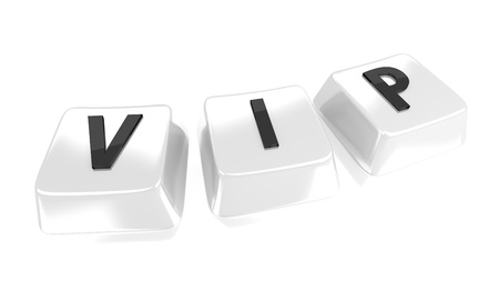VIP written in black on white computer keys  3d illustration  Isolated background  Stock Illustration - 15753268