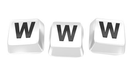 WWW written in black on white computer keys  3d illustration  Isolated background Stock Illustration - 15753267