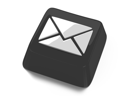 E-Mail envelope icon in white on black computer key  3d illustration  Isolated background