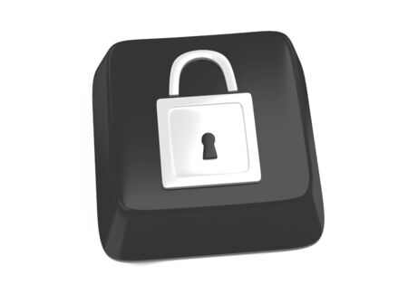 Lock icon in white on black computer key  3d illustration  Isolated background  Stock Illustration - 16159256