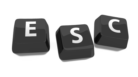 esc: ESC written in white on black computer keys  3d illustration  Isolated background