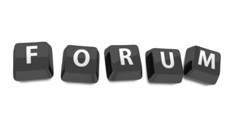 FORUM written in white on black computer keys  3d illustration  Isolated background  illustration